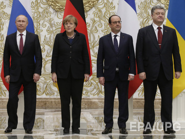 Minsk, February 11. President of the Russian Federation Vladimir Putin, Chancellor of the Federative Republic of Germany Angela Merkel, President of France Francois Hollande, and President of Ukraine Petro Poroshenko before the negotiations that las