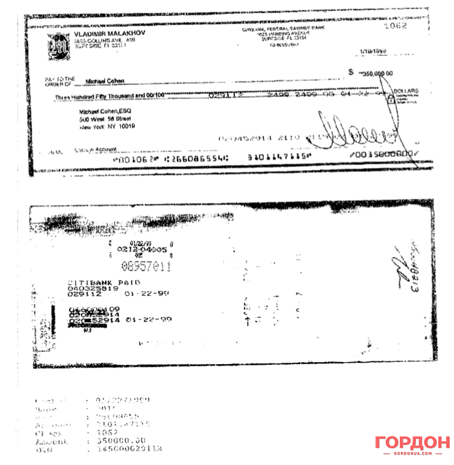 A check for $350,000 written to Michael Cohen. Photo: Yuri Felstinsky